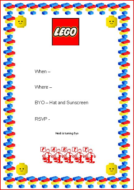 40th Birthday Ideas Lego Birthday Invitation Templates
